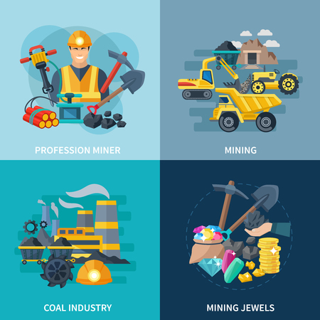 Illustration pour Mining design concept set with coal industry and professional miner flat icons isolated vector illustration - image libre de droit