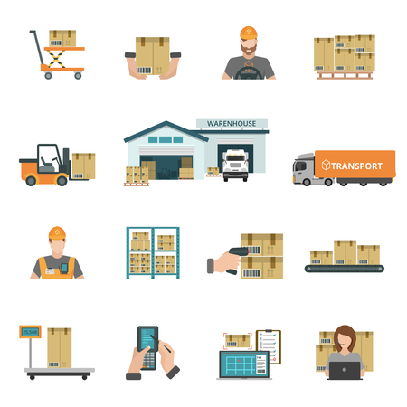 Foto de Warehouse and storage icons set with package and transport symbols flat isolated vector illustration - Imagen libre de derechos