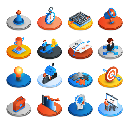 Illustration pour Business strategy and marketing ideas isometric icons set isolated vector illustration - image libre de droit