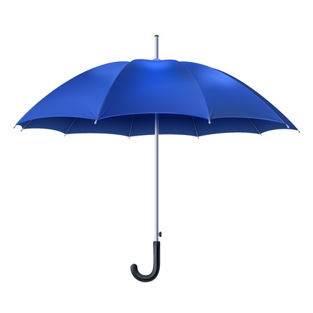 Illustration for Realistic open blue umbrella isolated on white background vector illustration - Royalty Free Image