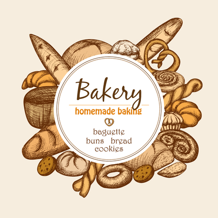 Illustration pour Vintage bakery frame with hand drawn pastry and bread set vector illustration - image libre de droit