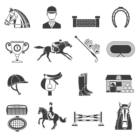 Ilustración de Black icons set on white background with accessories for  horse riding and equestrian sport isolated vector illustration. - Imagen libre de derechos