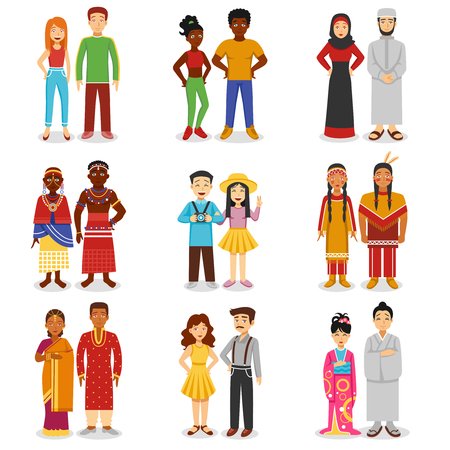 Illustration pour National couples icons set with European Asian and African people flat isolated vector illustration - image libre de droit