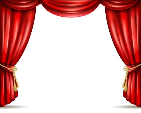 Illustration pour Opera house theater front stage iconic open red curtain drapery from heavy velour banner abstract vector illustration - image libre de droit
