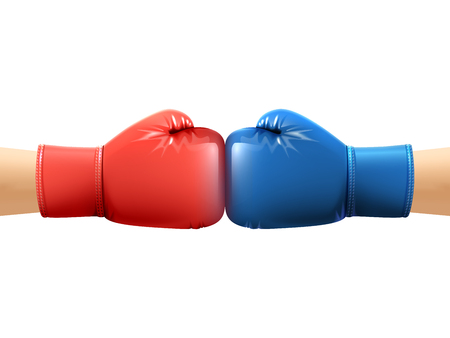 Two human hands in realistic boxing gloves punching vector illustration