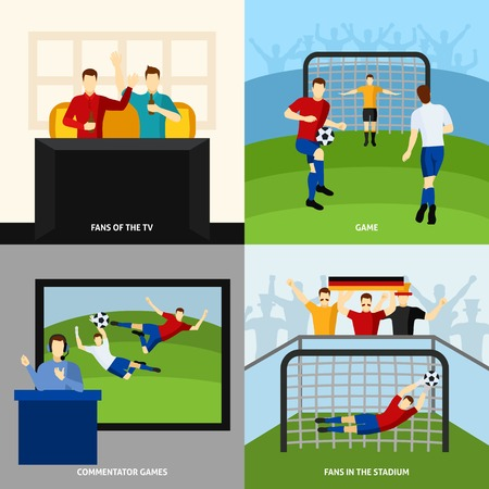 Soccer game 4 flat icons square composition with fans and tv  sport commentator abstract isolated vector illustration