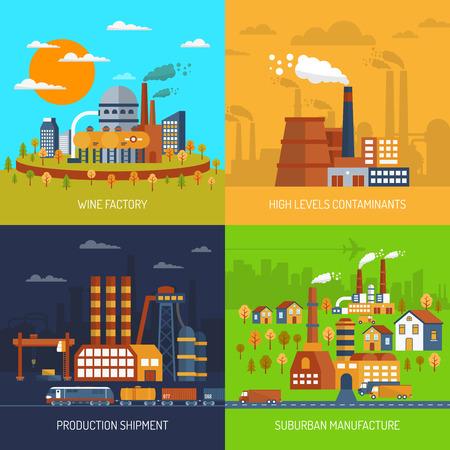Illustration pour Industrial factories and plants flat decorative icons set isolated vector illustration - image libre de droit