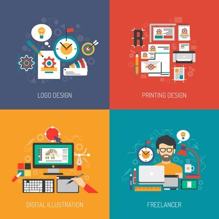 Illustration pour Designer concept set with graphic logo digital design isolated vector illustration - image libre de droit