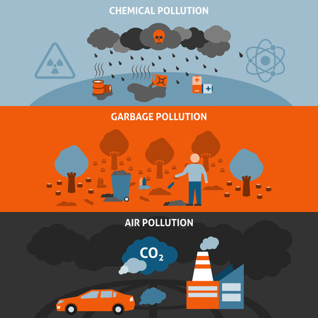 Illustration pour Pollution horizontal banners set with garbage chemical and air pollution symbols flat isolated vector illustration - image libre de droit