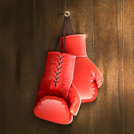 Ilustración de Red realistic boxing gloves hanging on wooden wall vector illustration - Imagen libre de derechos
