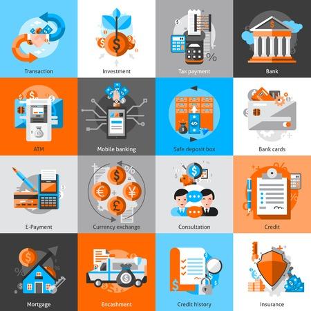 Ilustración de Banking icons set with investment atm credit mortgage isolated vector illustration - Imagen libre de derechos