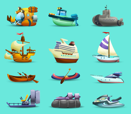 Foto de Ships and boats realistic icons set with motorboat submarine and yacht on blue background isolated vector illustration - Imagen libre de derechos