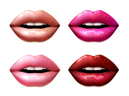 Ilustración de Female lips colored in different lipstic colors isolated vector illustration - Imagen libre de derechos