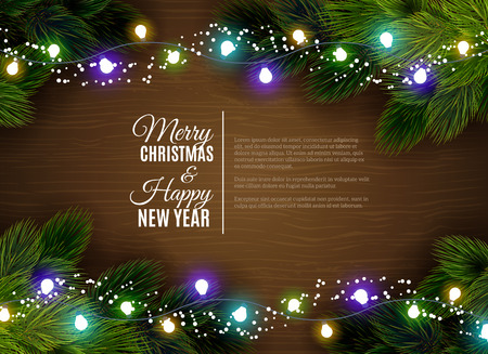 Illustration pour Christmas greetings with fair light decorations and fir branches border against dar wooden background abstract vector illustration - image libre de droit