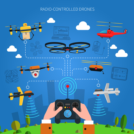 Illustration pour Radio-controlled drones concept with city grass and console in hands flat vector illustration - image libre de droit