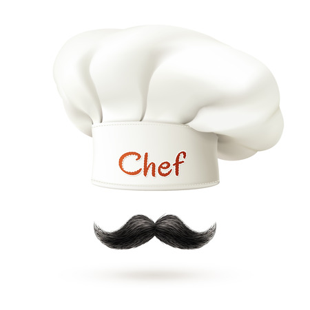 Illustration pour Chef realistic concept with white hat and mustache isolated vector illustration - image libre de droit