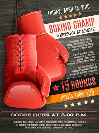 Illustration pour Boxing champ poster with realistic red gloves on wooden background vector illustration - image libre de droit