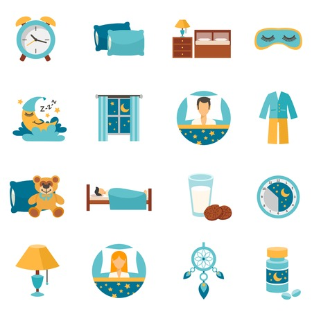 Illustration for Sleep time flat icons set with alarm clock pillows and bedroom furniture isolated vector illustration - Royalty Free Image