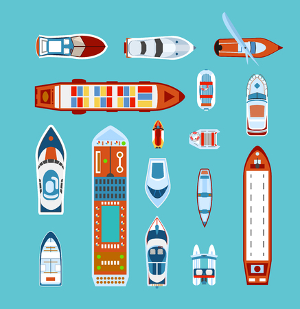 Illustration pour Various ships and boats types on water view from above with cruise liner abstract vector illustration - image libre de droit