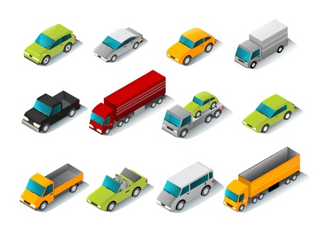 Illustration pour Isometric car icons set with 3d vans and trucks isolated vector illustration - image libre de droit