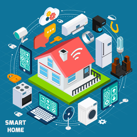Illustration pour Smart home iot internet of things comfort and security innovative technology concept  isometric banner abstract vector illustration - image libre de droit