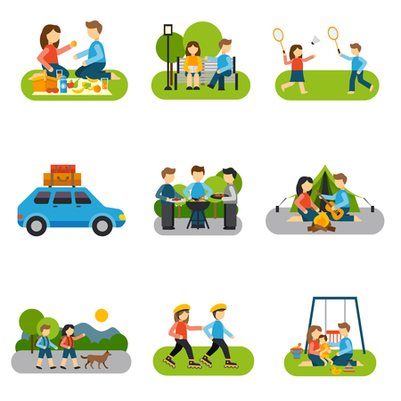 Illustration pour Outing concepts with friends and families outdoors isolated vector illustration - image libre de droit