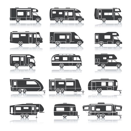 Illustration pour Recreational vehicles for family tourism and vacation black icons set isolated vector illustration - image libre de droit