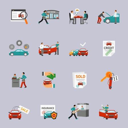 Illustration pour Car dealership and automobile retail icon set isolated vector illustration - image libre de droit