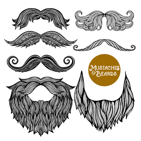 Photo for Hand drawn black decorative beard and mustache set on white background isolated vector illustration - Royalty Free Image