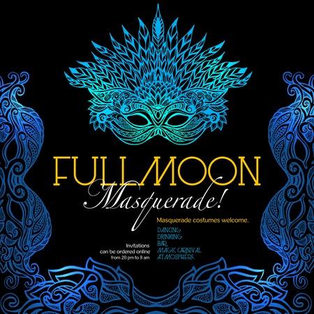 Ilustración de Masquerade ball party invitation poster with retro style venetian mask on dark background vector illustration - Imagen libre de derechos