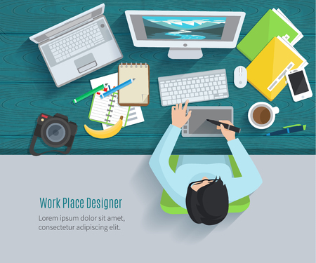 Ilustración de Designer workplace flat with top view woman at table and design gadgets vector illustration - Imagen libre de derechos