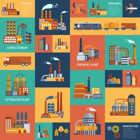 Illustration pour Flat color icons set with different types of industrial enterprises and  transport modes vector illustration. - image libre de droit