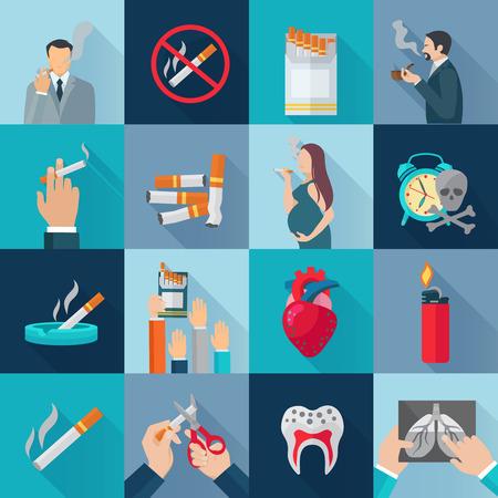 Ilustración de Smoking addiction flat long shadow icons set isolated vector illustration - Imagen libre de derechos
