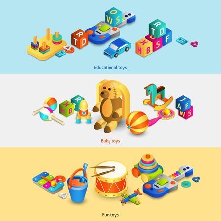 Illustration pour Toys horizontal banners set with isometric fun baby educational toys isolated vector illustration - image libre de droit