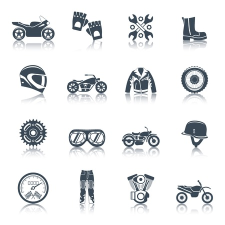 Illustration pour Motorcycle icons black set with transportation symbols isolated vector illustration - image libre de droit