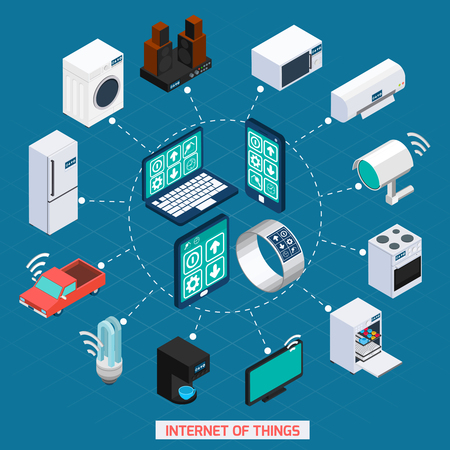 Illustration pour Iot internet of things remote household devices control concept isometric icons cycle composition abstract vector illustration - image libre de droit