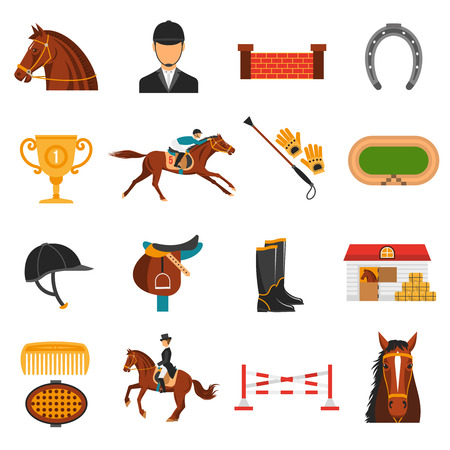 Illustration pour Flat color icons set with equipment for  horse riding isolated vector illustration. - image libre de droit