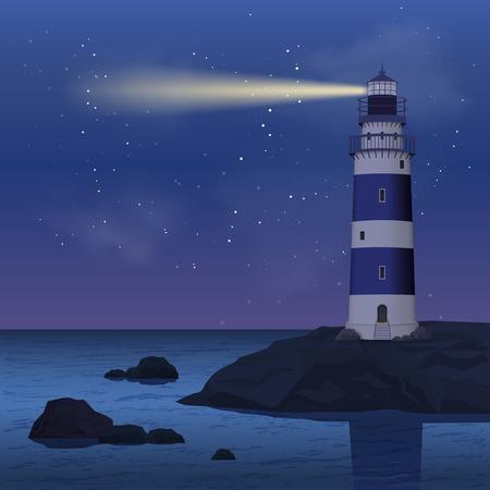 Illustration pour Realistic lighthouse on seashore rock in the night vector illustration - image libre de droit