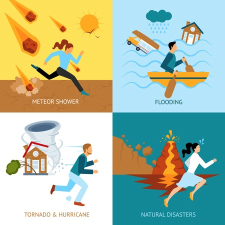 Illustration pour Natural disasters safety design concept with people escape from tornado and hurricane flat icons isolated vector illustration - image libre de droit