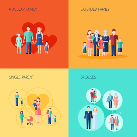 Illustration for Set of 2x2 design of nuclear family extended family single parent and spouses vector illustration - Royalty Free Image