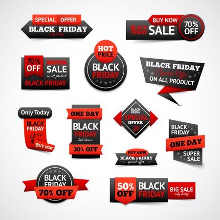 Illustration pour Black friday sale and discounts labels set isolated vector illustration - image libre de droit