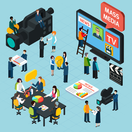 Illustration pour Mass media  isometric design concept set with journalists preparing news materials operators working with camera and interviewer vector illustration - image libre de droit