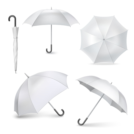 Illustration pour Light gray umbrellas  and parasols in various positions  open and folded pictograms collection realistic  isolated vector illustration - image libre de droit