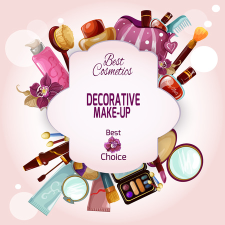Illustration pour Make-up concept with decorative female cosmetics and beauty products set vector illustration - image libre de droit