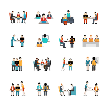 Illustration pour Coworking space flat icons set with freelancer working place isolated vector illustration - image libre de droit