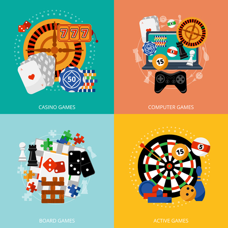 Illustration pour Popular gambling games of fortune entertainment casino poster with 4 flat icons composition abstract isolated vector illustration - image libre de droit