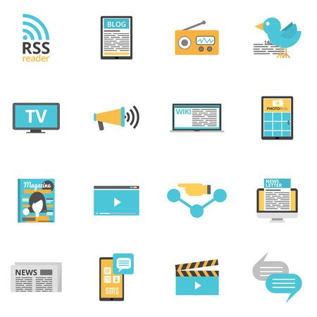 Illustration pour Mass media icons set with press online and photo media symbols flat isolated vector illustration - image libre de droit