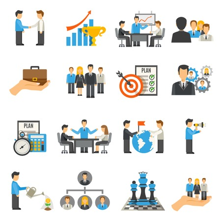 Illustration for Management flat icons set with businessmen on work meeting and conferences isolated vector illustration - Royalty Free Image