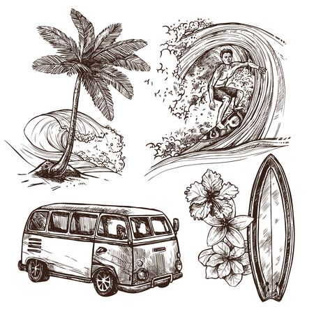 Ilustración de Surfing sport and lifestyle wave surfboard beach and van sketch decorative icon set isolated vector illustration - Imagen libre de derechos
