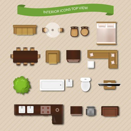 Illustration pour Interior icons top view with sofa armchair couch isolated vector illustration - image libre de droit